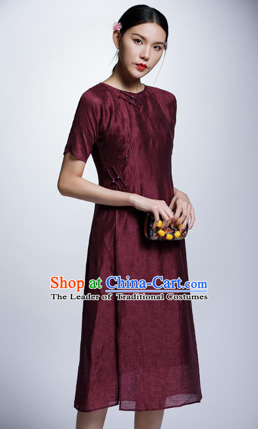 Chinese Traditional Wine Red Cheongsam China National Costume Tang Suit Qipao Dress for Women