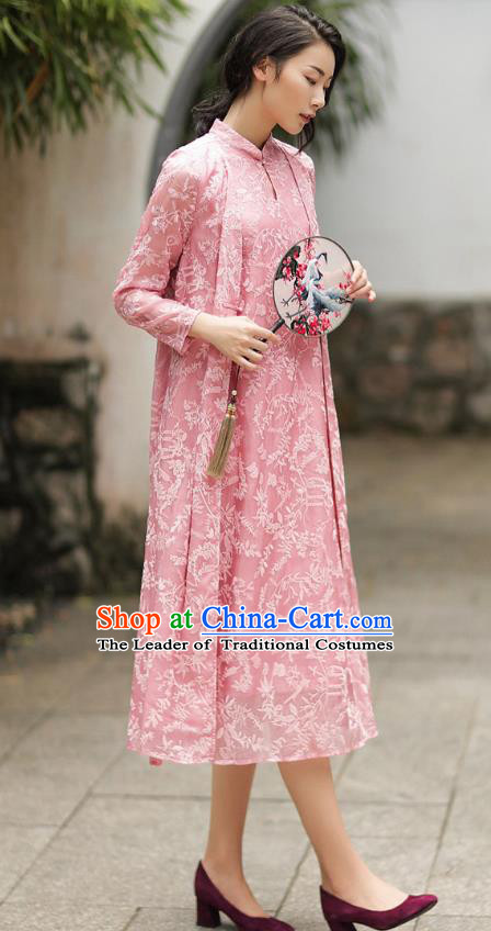 Chinese Traditional Tang Suit Embroidered Pink Cheongsam China National Qipao Dress for Women