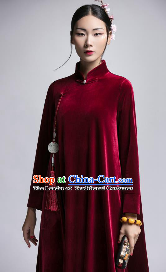 Chinese Traditional Tang Suit Wine Red Velvet Cheongsam China National Qipao Dress for Women