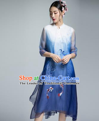 Chinese Traditional Tang Suit Embroidered Blue Silk Cheongsam China National Qipao Dress for Women