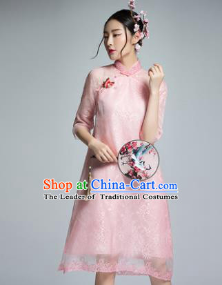 Chinese Traditional Tang Suit Pink Silk Cheongsam China National Qipao Dress for Women