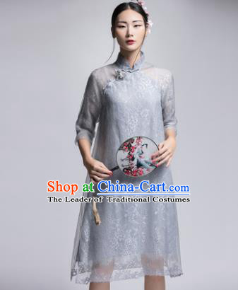 Chinese Traditional Tang Suit Grey Silk Cheongsam China National Qipao Dress for Women