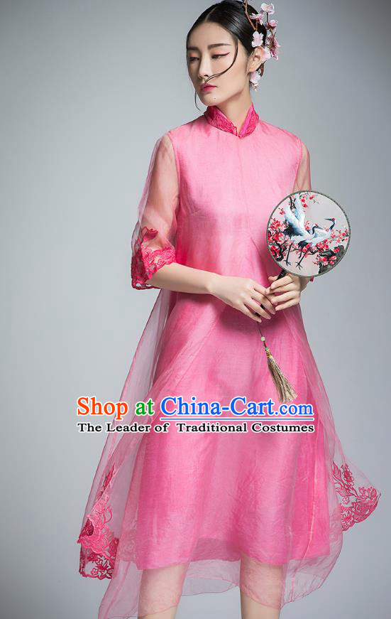 Chinese Traditional Tang Suit Embroidered Pink Organza Cheongsam China National Qipao Dress for Women