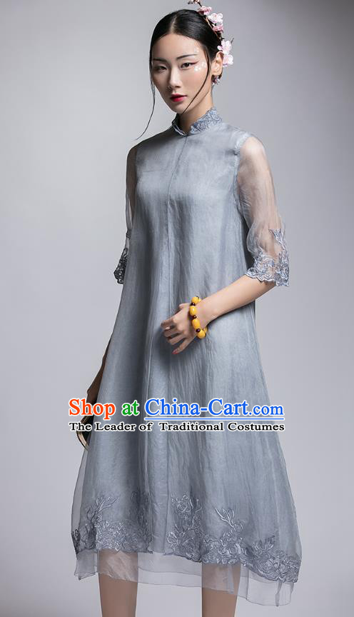 Chinese Traditional Tang Suit Embroidered Grey Organza Cheongsam China National Qipao Dress for Women