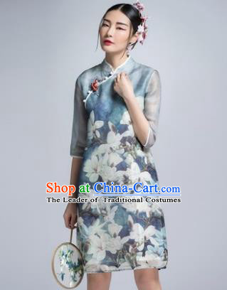 Chinese Traditional Tang Suit Printing Mangnolia Blue Cheongsam China National Qipao Dress for Women