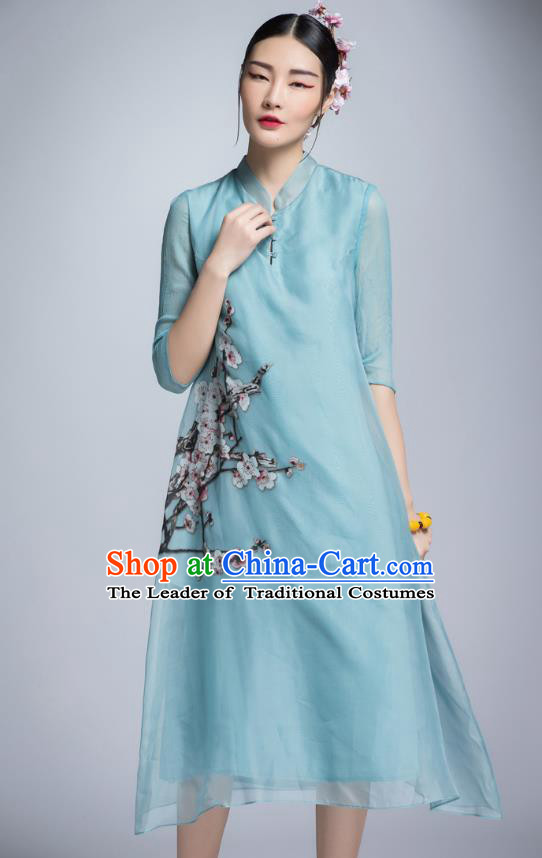 Chinese Traditional Tang Suit Printing Plum Blossom Blue Cheongsam China National Qipao Dress for Women
