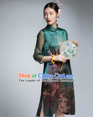 Chinese Traditional Tang Suit Printing Green Silk Cheongsam China National Qipao Dress for Women