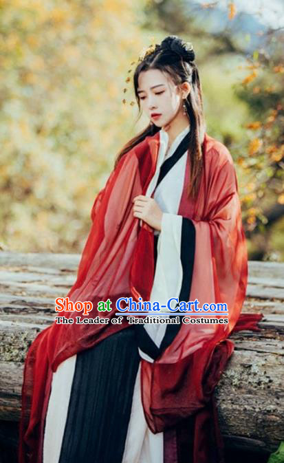 Chinese Ancient Jin Dynasty Swordswoman Hanfu Dress Princess Costume for Women