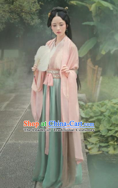 Chinese Ancient Jin Dynasty Palace Princess Hanfu Dress Fairy Costume for Women