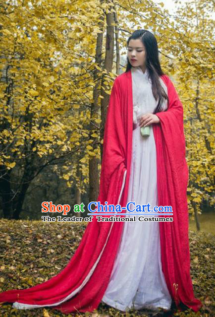 Traditional Chinese Ancient Princess Costume Jin Dynasty Swordsman Red Hanfu Dress for Women