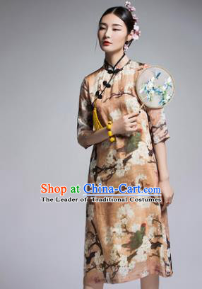 Chinese Traditional Tang Suit Printing Yellow Cheongsam China National Qipao Dress for Women