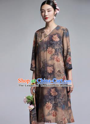 Chinese Traditional Tang Suit Printing Peony Brown Cheongsam China National Qipao Dress for Women