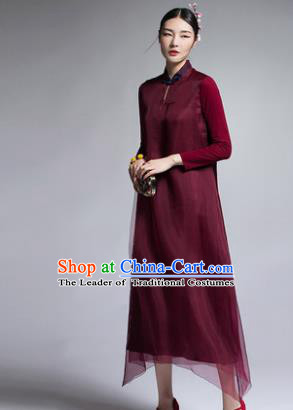 Chinese Traditional Tang Suit Wine Red Cheongsam China National Qipao Dress for Women