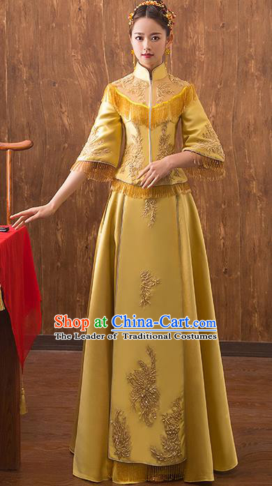 Traditional Chinese Embroidered Yellow Xiuhe Suit Ancient Wedding Dress Toast Cheongsam for Women