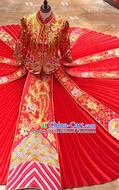 Traditional Chinese Ancient Embroidered Peony Toast Cheongsam Red Bottom Drawer Xiuhe Suit Wedding Dress for Women