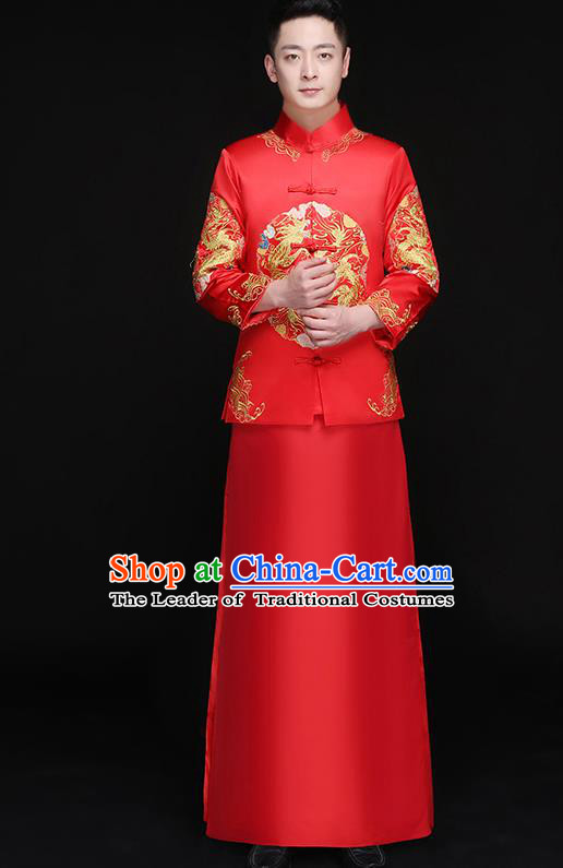 Chinese Traditional Bridegroom Embroidered Dragon Phoenix Costume Ancient Tang Suit Clothing for Men