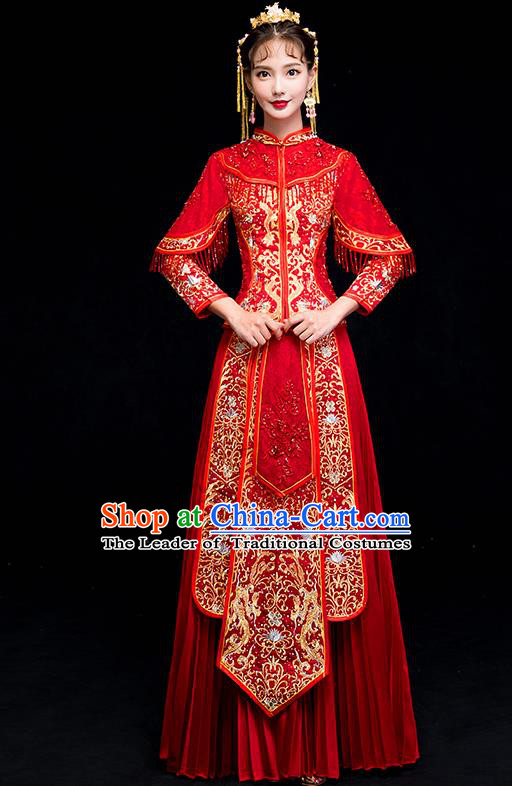 Chinese Traditional Wedding Embroidered Dress Toast Costumes Ancient Bride Xiuhe Suit Clothing for Women