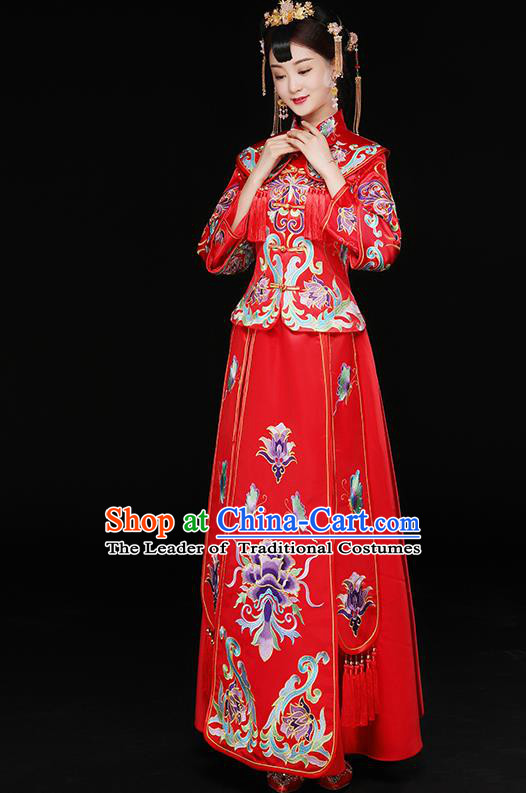 Traditional Chinese Embroidered Toast Cheongsam Ancient Bottom Drawer Xiuhe Suit Wedding Dress for Women