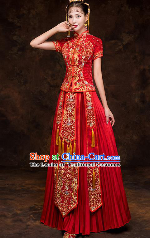 Chinese Traditional Cheongsam Embroidered Wedding Dress Ancient Bride Xiuhe Suit for Women