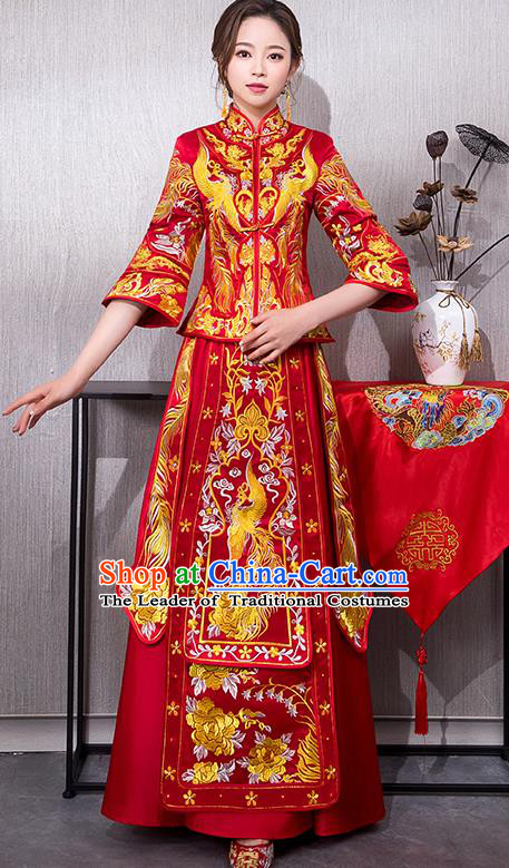 Chinese Traditional Embroidered Bridal Xiuhe Suit Wedding Dress Ancient Bride Cheongsam for Women