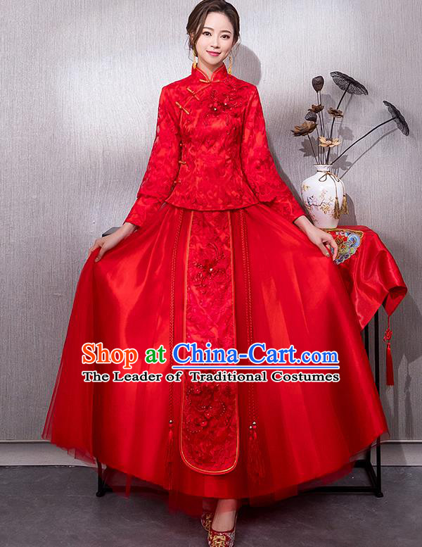 Chinese Traditional Bridal Red Xiuhe Suit Embroidered Peony Wedding Dress Ancient Bride Cheongsam for Women