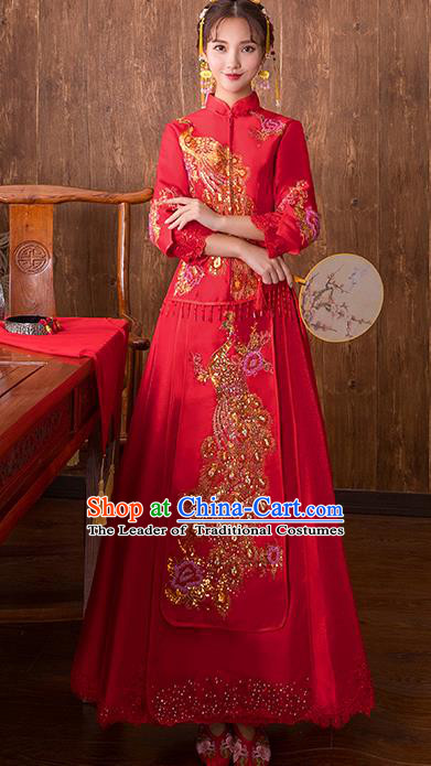 Chinese Traditional Bridal Red Xiuhe Suit Embroidered Phoenix Peony Wedding Dress Ancient Bride Cheongsam for Women