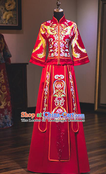 Chinese Traditional Delicate Embroidered Phoenix Wedding Dress Ancient Bride Longfeng Flown Xiuhe Suit Costume for Women