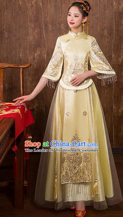 Chinese Traditional Bridal Toast Xiuhe Suit Golden Wedding Dress Ancient Bride Cheongsam for Women