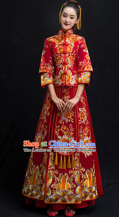 Chinese Traditional Bridal Toast Xiuhe Suit Wedding Dress Ancient Bride Embroidered Peony Cheongsam for Women
