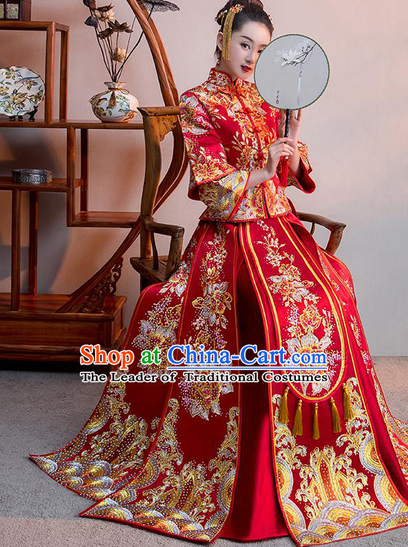 Chinese Traditional Bridal Red Xiuhe Suit Embroidered Diamante Wedding Dress Ancient Bride Cheongsam for Women