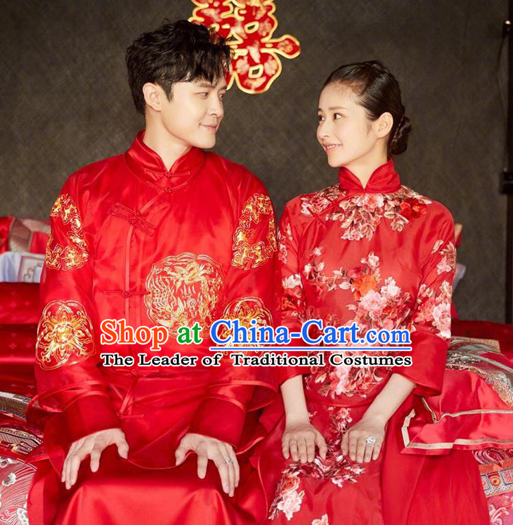 Chinese Traditional Embroidered Wedding Costume Ancient Bride and Bridegroom Xiuhe Suits Complete Set