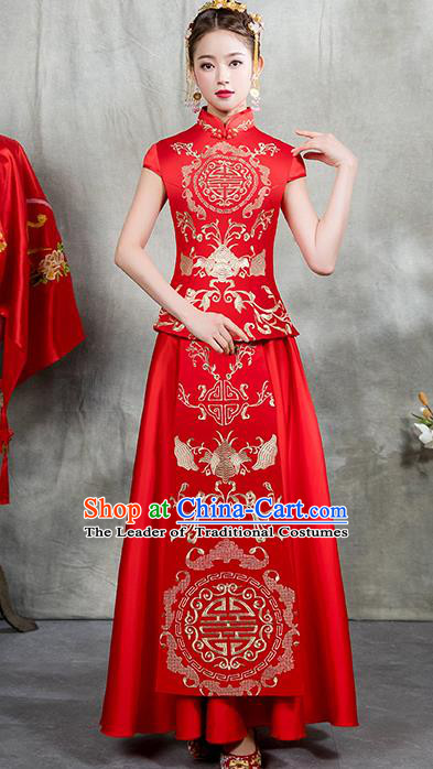 Chinese Traditional Embroidered Bridal Xiuhe Suit Ancient Wedding Toast Red Cheongsam Dress for Women