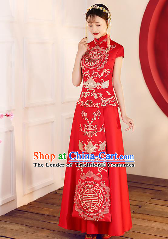 Chinese Traditional Embroidered Red Xiuhe Suit Ancient Wedding Short Sleeve Toast Cheongsam Dress for Women