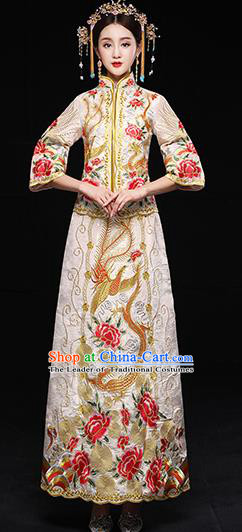 Traditional Chinese White Toast Cheongsam Ancient Embroidered Peony Phoenix Bottom Drawer Xiuhe Suit Wedding Dress for Women
