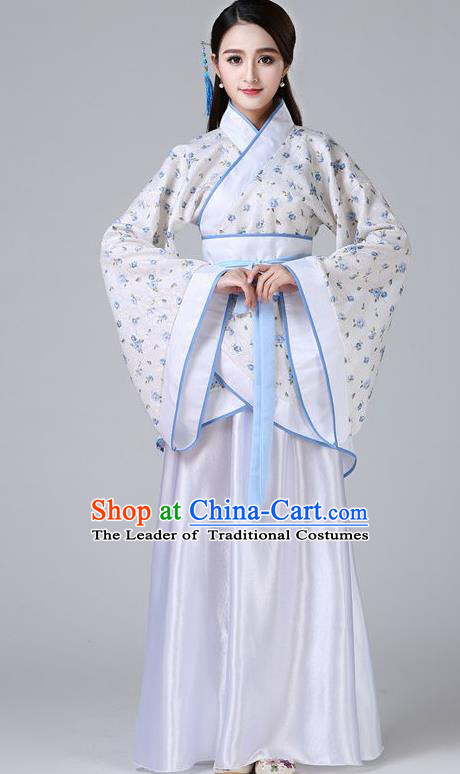 Chinese Ancient Drama Han Dynasty Princess Embroidered White Hanfu Dress for Women