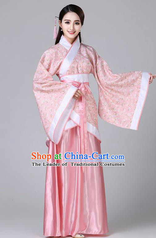 Chinese Ancient Drama Han Dynasty Princess Embroidered Pink Hanfu Dress for Women