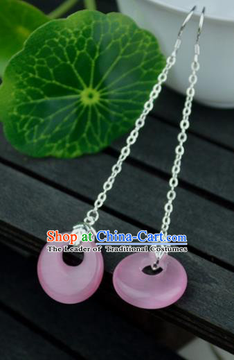 Chinese Traditional Ancient Pink Peace Buckle Earrings Accessories Hanfu Eardrop for Women