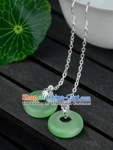 Chinese Traditional Ancient Green Peace Buckle Earrings Accessories Hanfu Eardrop for Women