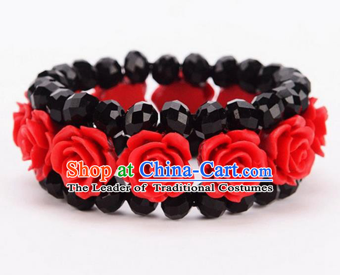 Chinese Traditional Ancient Accessories Hanfu Cinnabar Rose Bracelet for Women