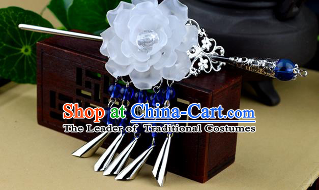 Chinese Traditional Ancient Hair Accessories Hanfu White Peony Hairdo Crown Tassel Hairpins Headwear for Women