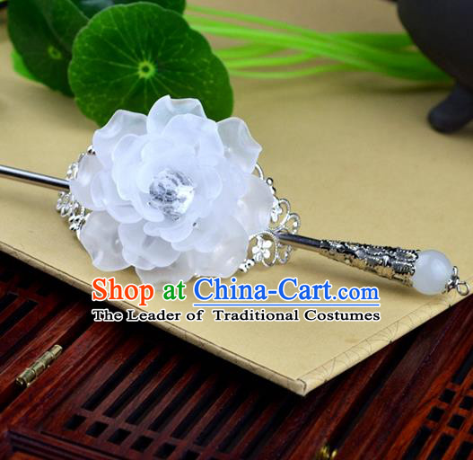 Chinese Traditional Ancient Hair Accessories Hanfu Hairpins White Peony Hairdo Crown Headwear for Women