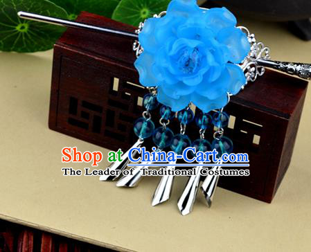 Chinese Traditional Ancient Hair Accessories Hanfu Blue Peony Hairdo Crown Tassel Hairpins Headwear for Women