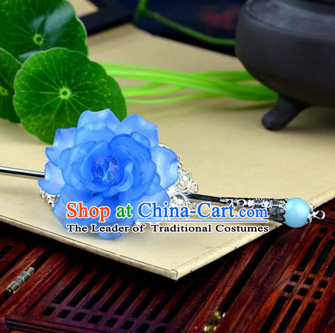 Chinese Traditional Ancient Hair Accessories Hanfu Hairpins Blue Peony Hairdo Crown Headwear for Women