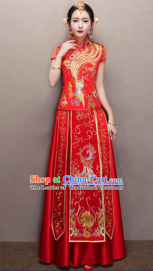 Chinese Traditional Xiuhe Suit Embroidered Peony Longfeng Flown Ancient Bottom Drawer Wedding Dress for Women