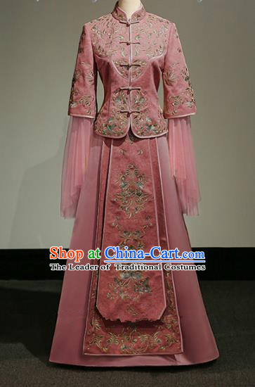 Chinese Traditional Wedding Xiuhe Suit Ancient Longfeng Flown Bride Embroidered Pink Cheongsam Dress for Women