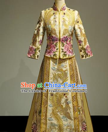 Chinese Traditional Wedding Golden Xiuhe Suit Ancient Longfeng Flown Bride Embroidered Cheongsam Dress for Women