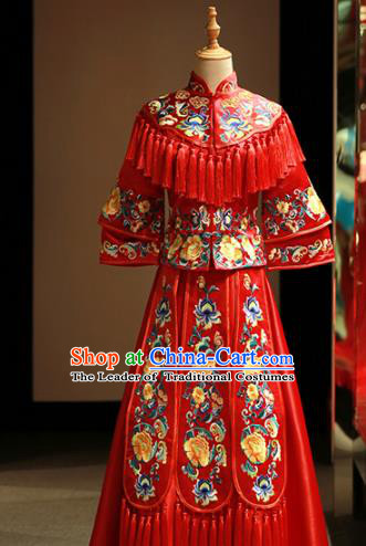 Chinese Traditional Bride Embroidered Peony Cheongsam Xiuhe Suit Ancient Wedding Longfeng Flown Dress for Women