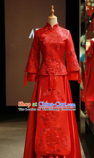 Chinese Traditional Bride Embroidered Cheongsam Xiuhe Suit Ancient Wedding Longfeng Flown Dress for Women