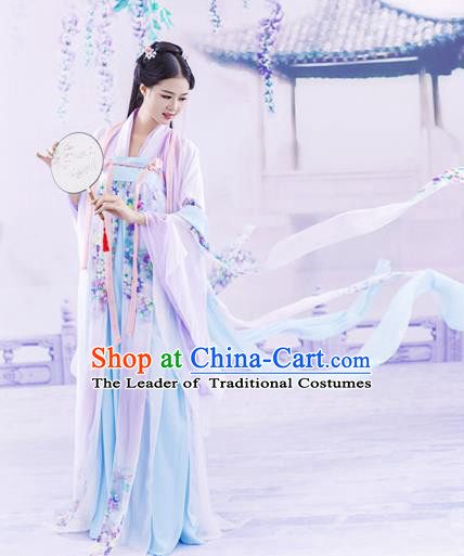 Chinese Ancient Drama Tang Dynasty Palace Princess Embroidered Hanfu Dress for Women