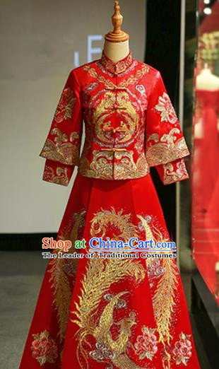Chinese Traditional Bride Embroidered Phoenix Cheongsam Xiuhe Suit Ancient Wedding Longfeng Flown Dress for Women